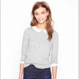 J. Crew Peter Pan collar heather gray top XS